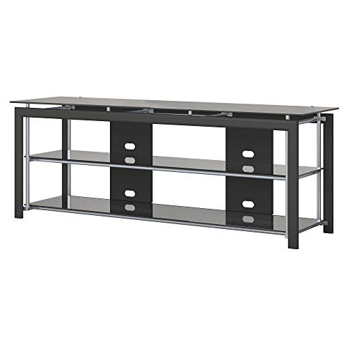 Bush Furniture Midnight Mist 65w Tv Stand For Flat Screens In Black Flat Screen Tv Stand Tv Stand Wood Tv Stand