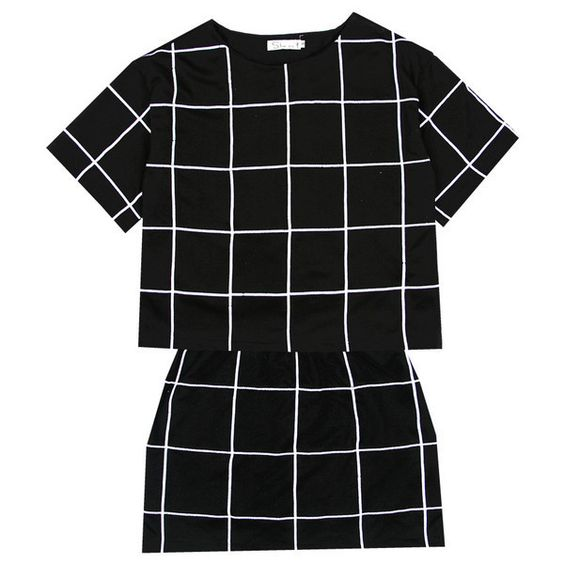 European and American minimalist checkered checkered BOOX temperament was thin models black and white dress suit skirt-ZZKKO ($16.00) found on Polyvore