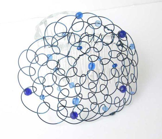 Blue Wire Blue Beaded Wire #Kippah #linorstore #Jewish Judaica gifts #bat mitzvah