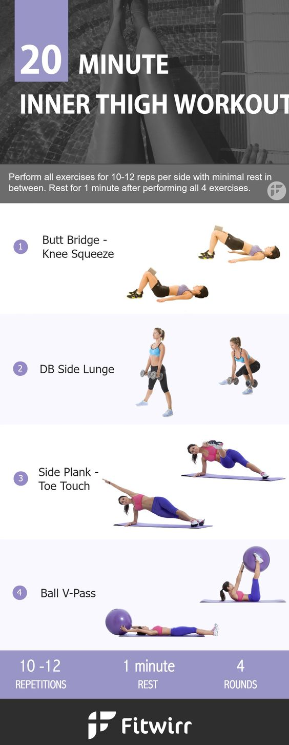 20-minute workouts to burn and lose inner thigh fat. These exercises will not only work your inner thighs, but also your other trouble spots like your outer thighs, butt, and the back of your legs that collect cellulite. Perform this 20 minute inner thigh fat workout 2-3 days a week to make the thigh fat disappear. #losethighfat #thighsfat #bikinibody