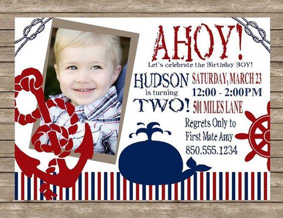 AHOY Matey Boy's Nautical Birthday Party Invitation | Birthday ...