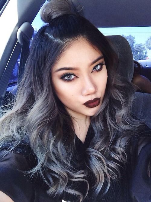 Jet Black Ombre Hair Tumblr 1000+ images about hair on pinterest grey ... Jet Black Hair With Ombre