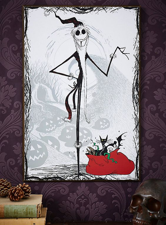 The Nightmare Before Christmas Jack Skellington Santa Wood Wall Art Nightmare Before Christmas Wallpaper Nightmare Before Christmas Jack Skellington Santa