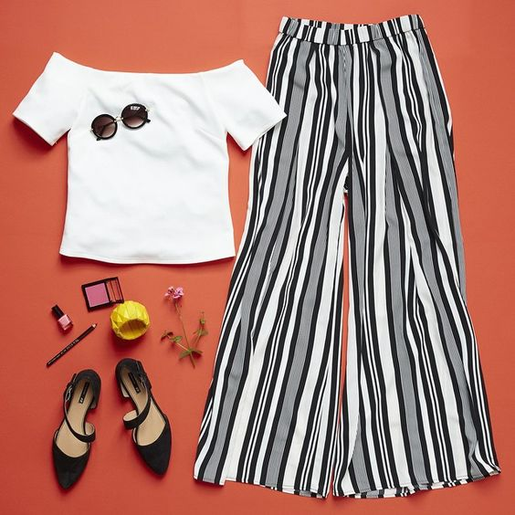 Elegant pre-summer look! Match an off-shoulder top with striped flares. Add the colour with make-up and accessories! #HMLooks