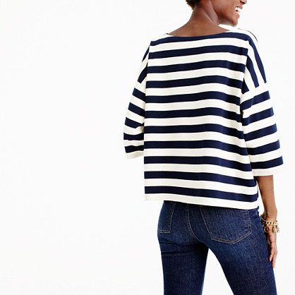 Oversized drop-sleeve striped T-shirt:
