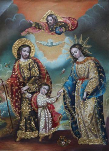 HOLY-FAMILY-CUZCO-ART-FOLK-ORIGINAL-RELIGIOUS-OIL-PAINTING-ON-CANVAS-ICON-SANTOS