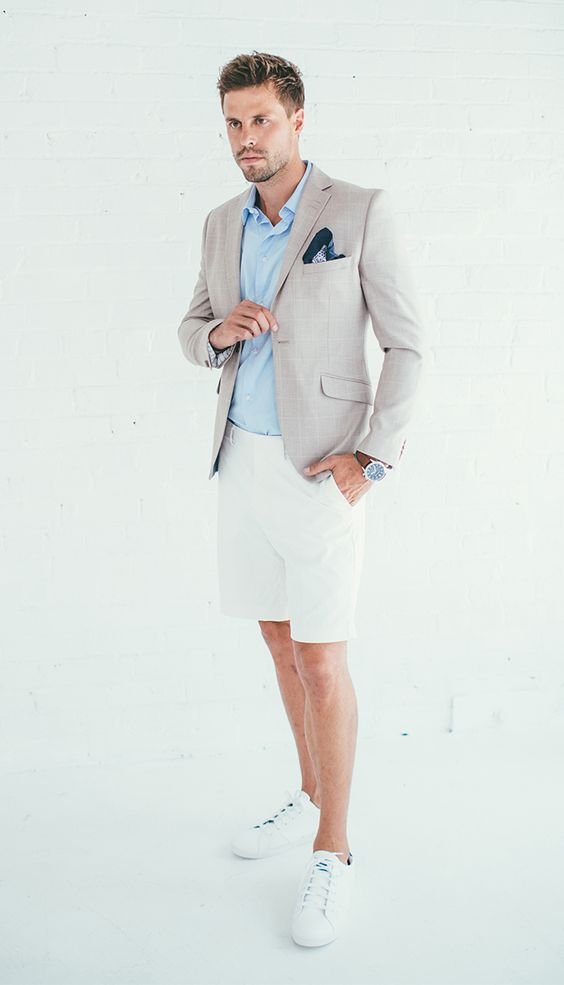| WEARING | : BLUE BUTTON DOWN SHIRT | |TAN BLAZER (SIMILAR HERE)|| WHITE CHINO SHORTS (MORE COLORS HERE) || WHITE SNEAKERS || POCKET SQUARE (SIMILAR HERE) || WATCH | CHRISTINE |: NUDE EMBELLISHED …