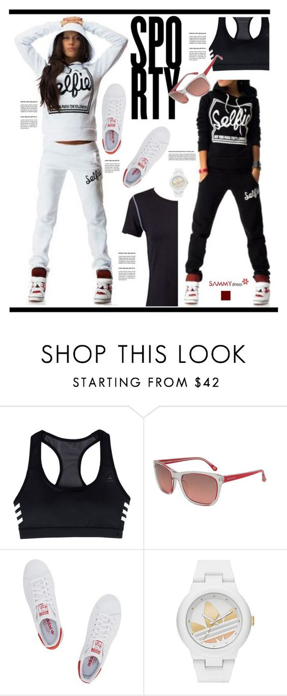 """SAMMYDRESS.COM: Sporty"" by hamaly ❤ liked on Polyvore featuring adidas, Michael Kors, adidas Originals, ootd, sporty, Sweatshirt, pants and sammydress"