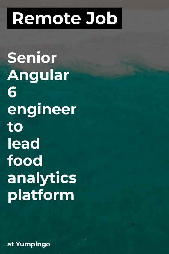Remote Senior Angular 6 Engineer To Lead Food Analytics Platform
