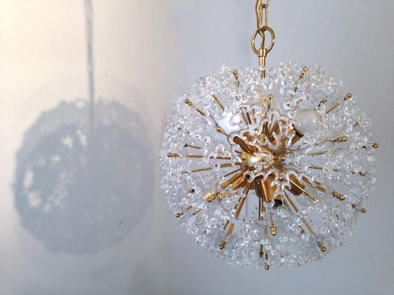 Just arrived. Fabulous Mid Century Glass & Brass Sputnik Chandelier