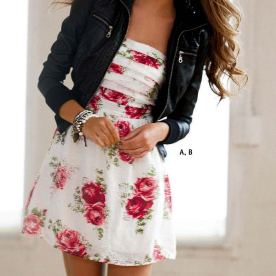 Dress Leather Jacket Curled Hair. Feminine And Cute But With A Touch Of Edgy. | Fashion ...