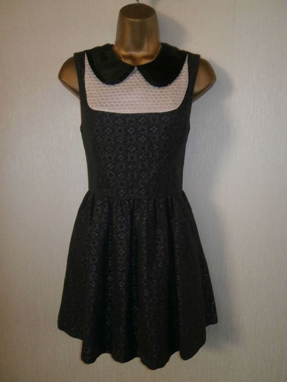 TopShop - Black and Silver Collared Cotton Skater Dress - UK 10 / EU 38