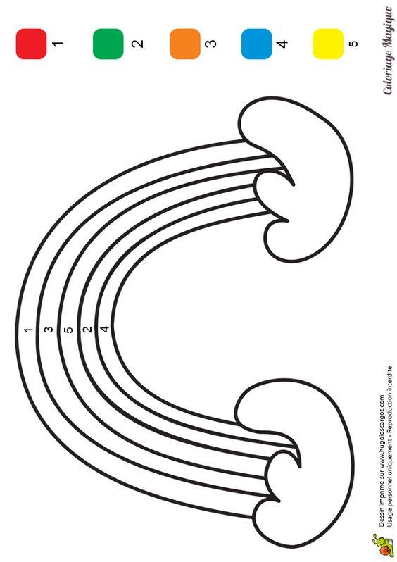 Coloriage magique maternelle arc en ciel imprimer sur - Coloriage hugolescargot ...