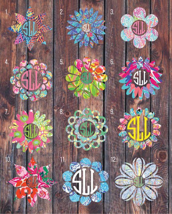 Lilly Pulitzer inspired flower monogram decal, monogram sticker, circle monogram,yeti cooler monogram decal, laptop decal, Car decal.