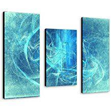 Magic Ocean - Feng shui Wandbild 100x70cm 3-teiliges Keilrahmenbild (30x70+30x50+30x70cm) abstraktes Wandbild mehrteiliger Kunstdruck im Gemälde-Stil - optisch wie handgemalt - glatte Oberfläche - Vintage