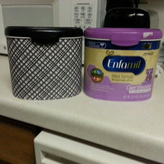 Repurpose your formula containers! Scrapbook paper, modge podge, and left over paint.