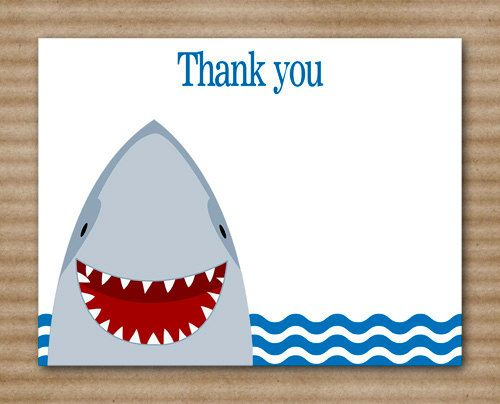 Shark Thank You Cards Birthday Under The By Paperhousedesigns Shark Birthday Shark Party Cards