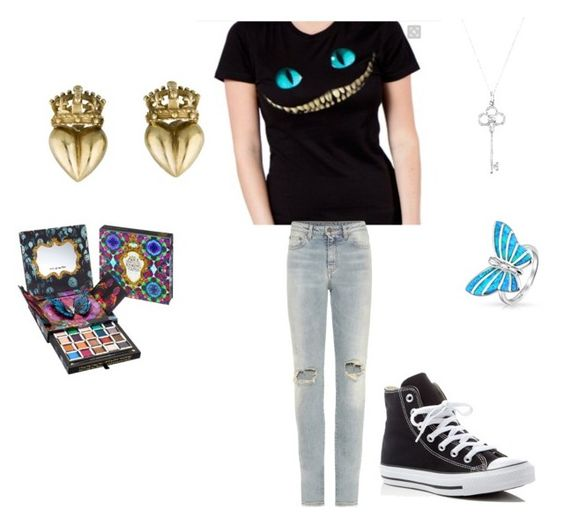 """""""Alice in wonderland"""" by rachelfinchy on Polyvore featuring Yves Saint Laurent, Bling Jewelry, Tiffany & Co., Urban Decay and Converse"""