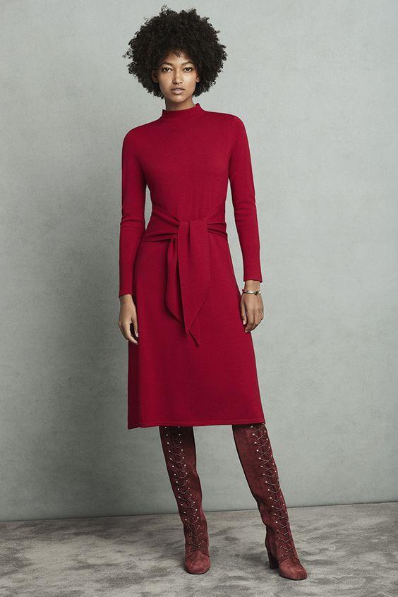 Allerton Dress Garnet Red Merino Wool