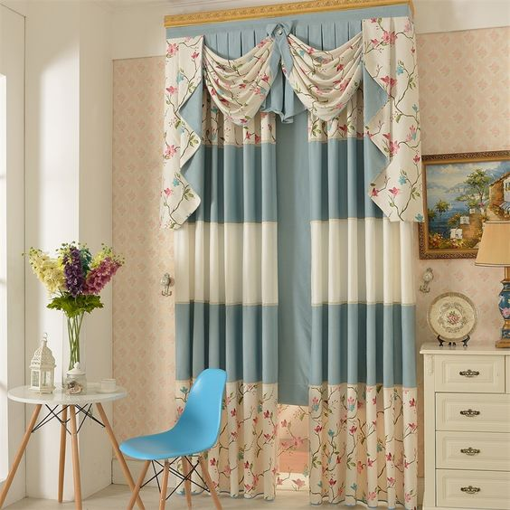 Floral Pattern Cotton Fabric Country Curtain | Country Curtains ...