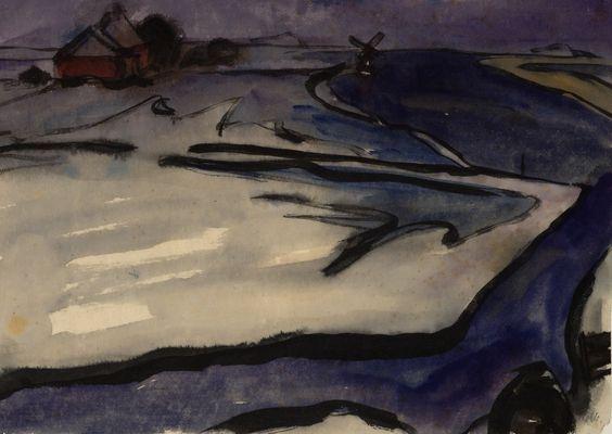 Emil Nolde | Winterlandschaft mit Windmühle - Winterly landscape with a wind mill | um 1926 | Albertina, Wien
