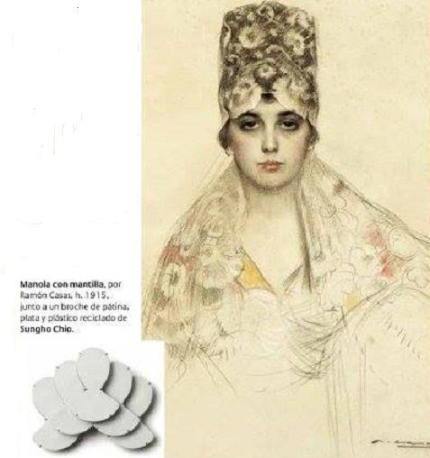 """Ramon Casas - Manola con mantilla - broche Sungho Cho (en """"Descubrir el Arte""""):"""