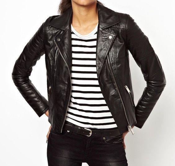 Black Friday Women'S Slim Fit Genuine Lambskin Leather Motorcycle ...