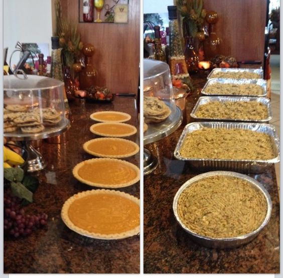 Sweet potato pies and cornbread dressing filled with meat. Advance Thanksgiving preparation. All you have to do is warm on thanksgiving morning.