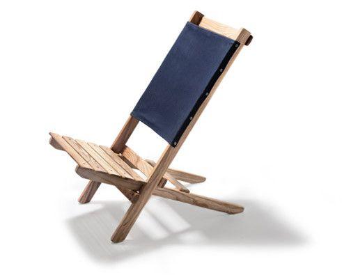 Waxed Canvas & White Ash Travel Chair (Navy) - Kaufmann Mercantile