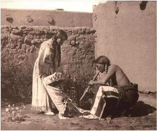 Family At Taos Pueblo. New Mexico. 1914. Photo By Carl