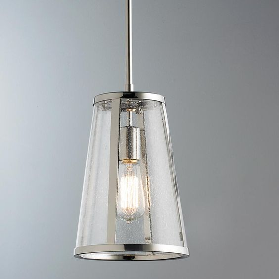 Pendant Light Over Kitchen Sink: Seeded Glass Transitional Mini Pendant Light