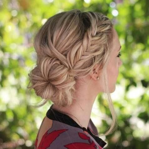 Side Bun With A Fishtail Braid Sideupdos Hairstyle Women Pinterest Side Bun Hairstyles Work Hairstyles Hair Styles