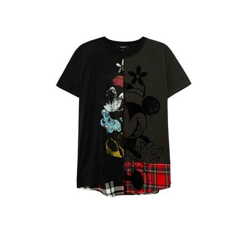 Desigual Mickey Mouse T Shirt Met Printopdruk Zwart Rood Antraciet Mickey Mouse T Shirts Zwart