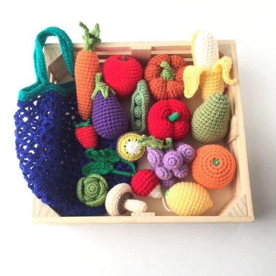 Juego comida verduras y frutas con mercado bolsa de por KMJcrochet