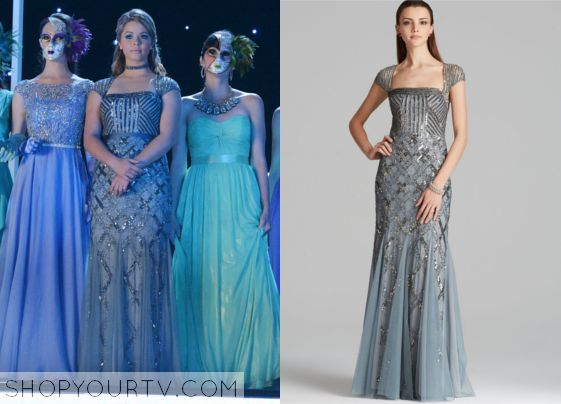 This gorgeous Adrianna Papell #gown was recently featured on #PrettyLittleLiars! Click to steal Allisons style! #PLL #celebstyle