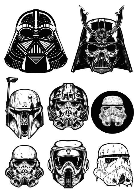 DARTH VADER STORMTROOPER DARK SIDE VINYL DECAL STICKER Star Wars Helmets