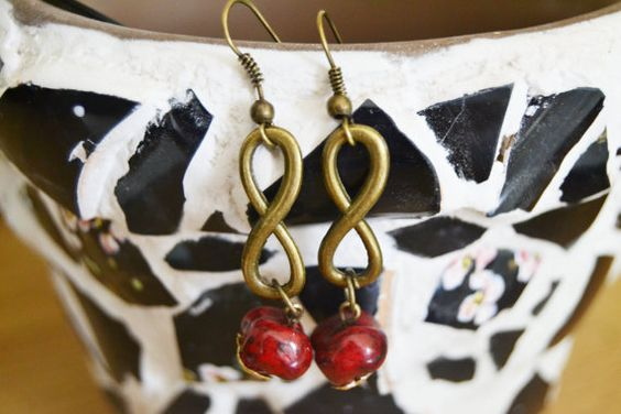 Antique Gold Infinity Everlasting Love & Friendship Howlite Drop Earring