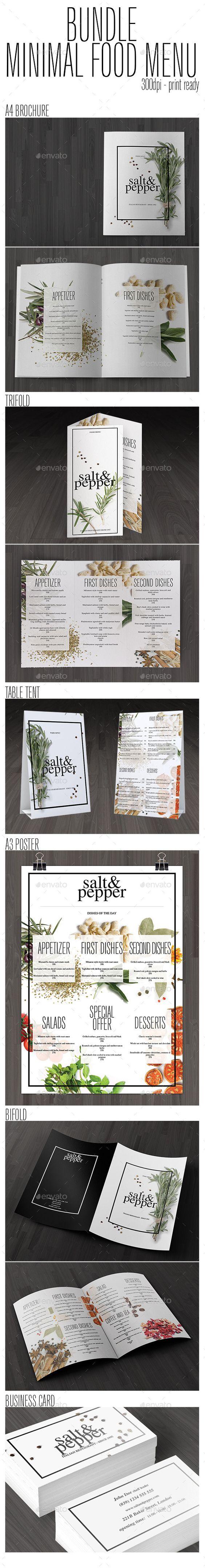 Bundle Minimal Food Menu Template #design Download: http://graphicriver.net/item/bundle-minimal-food-menu/11559390?ref=ksioks