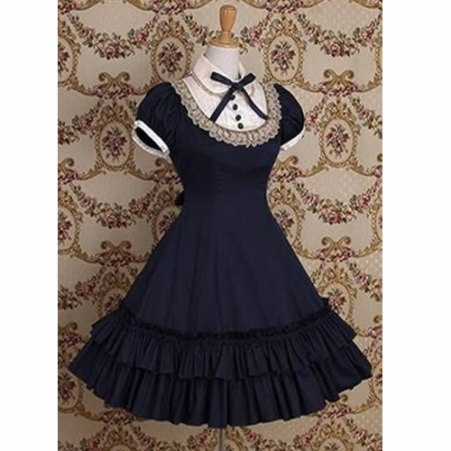 Navy Blue Cap Sleeve Vintage Gothic Lolita Style Prom Party Dresses SKU-11402545