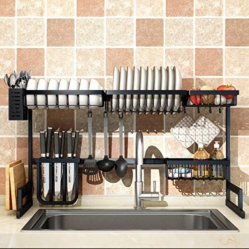 Over Sink 33 Dish Drying Rack 2 Cutlery Holders Drainer Shelf For Kitchen Supplies Storage Counter Organizer Stainless Steel Display Kitchen Space Save Must In 2020 Sink Sizes Kitchen Shelves Kitchen Space Savers