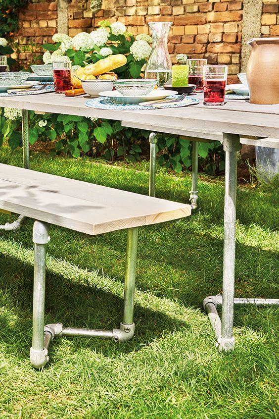 Deine Selbstgebaute Essgarnitur Gartentisch Selber Bauen Pflanztisch Selber Bauen Selber Bauen