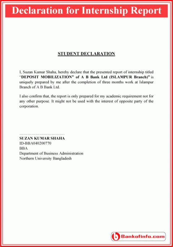 Declaration For Internship Report Sample Internship Report Internship Resignation Letters