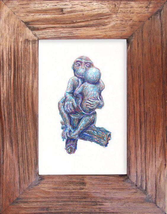 ebay series Turquoise Monkey Carving  original by charleydarbo, $100.00