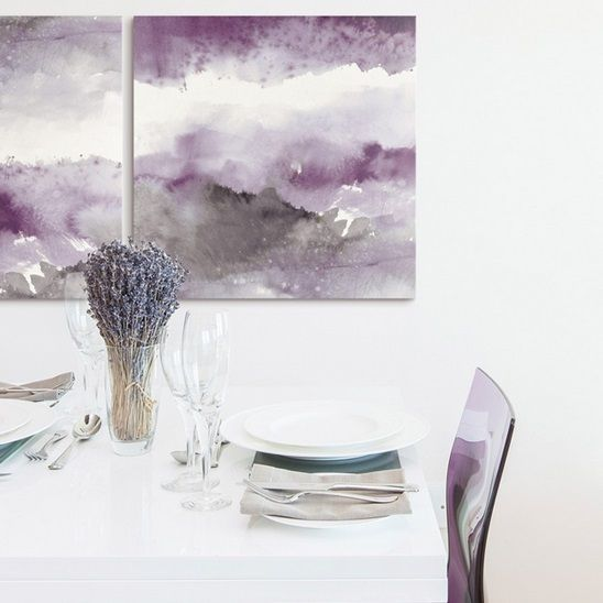 Amethyst And Grey Art In A Glamorous Dining Room Purple Is One Of The Design World S Quiet Superstars This Amethyst An Grey Wall Art Violet Wall Art Grey Art