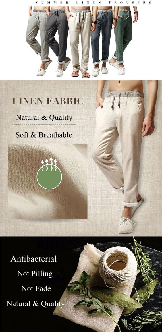 Men Long Trousers Flax Leisure Pants