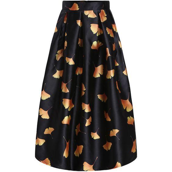 Leaves Print Pleated Skirt (¥2,750) ❤ liked on Polyvore featuring skirts, multicolor, flare skirt, knee length pleated skirt, knee high skirts, print skirt and multi color skirt
