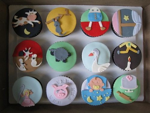 Nursery Rhyme baby shower cupcakes.
