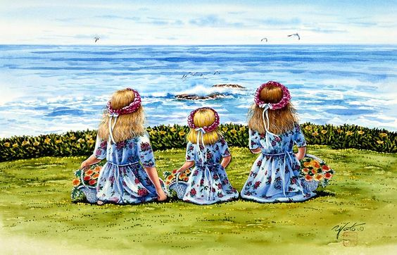 Flower Girls Painting  - Flower Girls Fine Art Print
