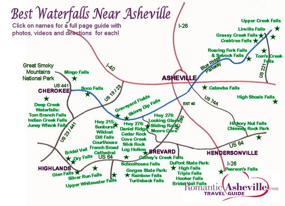 Waterfall Map for NC Mountains