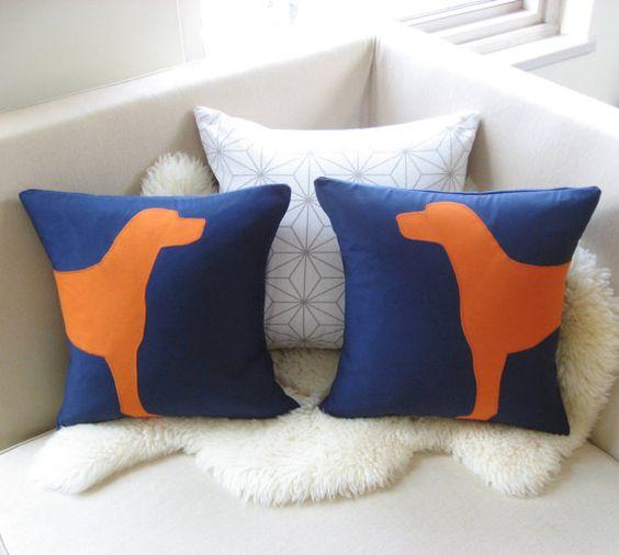 Dog Decorative Pillow Cover Pair, Modern Dog Silhouette, Navy Blue & Dark Orange Applique, 18x18 ...